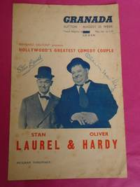 BERNARD DELFONT PRESENTS HOLLYWOOD'S GREATEST COMEDY COUPLE STAN LAUREL & OLIVER HARDY ( Granada Sutton Program August 25 Week 1952 Signed  By Both Laurel & Hardy)