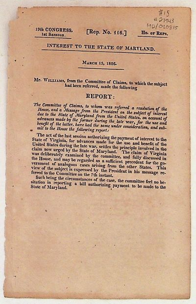 House of Representatives, 1826. Paperback. Very Good. Paperback. 19th Congress, 1st Session . One Pa...