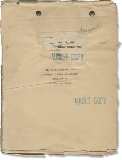 Culver City, CA: MGM, 1929. Post-Production Dialogue Cutting Continuity script for the 1930 film. Sm...