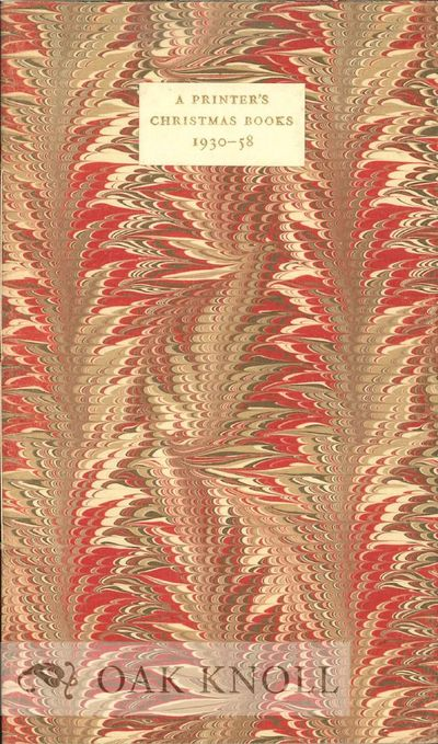 Cambridge: Privately printed, 1959. marbled paper wrappers, paper cover label. Cambridge Christmas B...