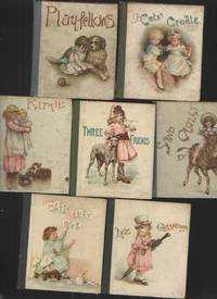 image of Set of 7 Small Children's Books from 1890s Playfellows, Cats' Cradle,  Kittie, Three Friends, Miss Busy Bee, like Grandpa, Sand Castles