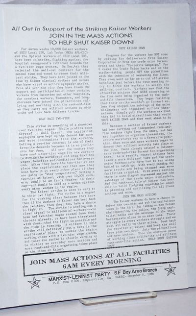 Emeryville, CA: Marxist-Leninist Party, SF Bay Area Branch, 1986. 8.5x14 inch handbill, fold-creased...