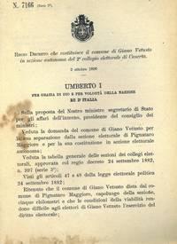 che costituisce il comune di Giano Vetusto in sezione autonoma del 2° collegio elettorale di Caserta.