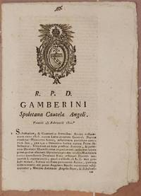 GAMBERINI SPOLETANA CAUTELAE ANGELI VENERIS 23 FEBRUARII 1821