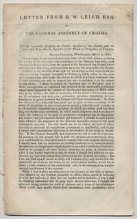 Letter From B.W. Leigh, Esq. to the General Assembly of Virginia