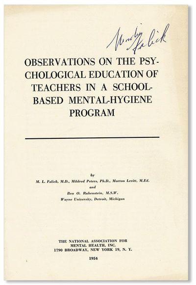 New York: National Association for Mental Health, 1954. Offprint. Paperback. Octavo (23cm.); publish...