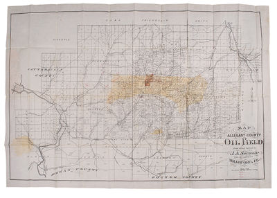 Bradford, PA, 1881. Folding pocket map, appox. 27 1/2 x 39 1/2 inches, with the oil region hand colo...