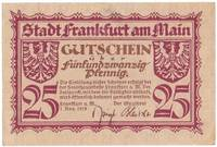 A Uncirculated 1919 25 Pfennig Banknote from Frankfurt Germany