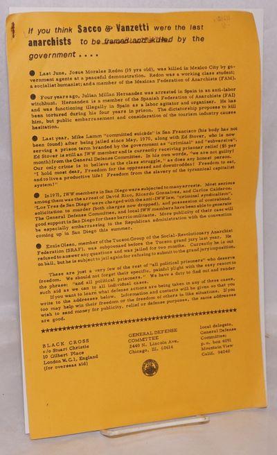 Van Nuys, CA: SRAFprint Co-op, General Defense Committee, n.d.. Seven legal-size sheets stapled toge...