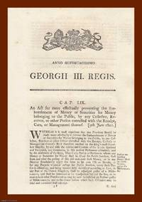 EMBEZZLEMENT ACTS, 1810-1832. An interesting selection of 8 original Acts of Parliament