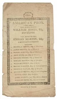 1811. American Prox. The Honourable William Jones, Esq; Governor. The Honourable Simeon Martin, Esq; Lieutenant-Governor..