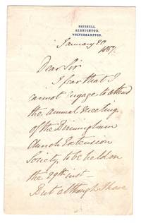 ALS from William Legge, 5th Earl of Dartmouth, England on Patshull/Albrighton/Wolverhampton stationery to Charles [--]