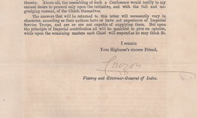 27/04/1904. Viceroy Lord Curzon This letter of Curzon, one of those to the maharajas, was sent to th...