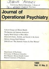 Journal of Operational Psychiatry, 1980, Volume 11, No. 2