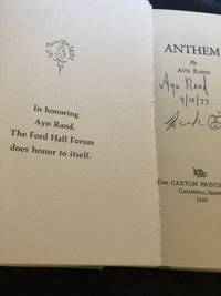ANTHEM: Signed Tribute to Ayn Rand Archive