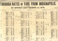 Through Rates of Fare from Indianapolis. in Effect September 1st, 1878.