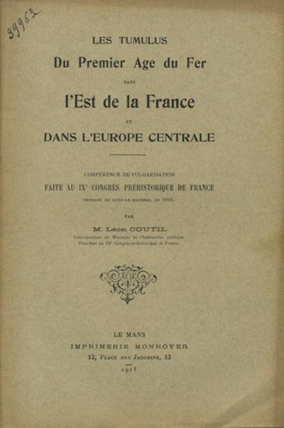 Le Mans, France: Imprimerie Monnoyer, 1913. Offprint. Stapled paper wrappers. A very good copy.. 31 ...