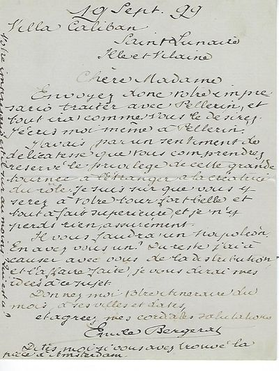 1899. One 5.5- by 7-inch letter on a folded sheet, dated Sept. 19, 1899, Villa Caliban. The letter i...