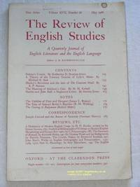The Review of English Studies: New Series Vol.XVII, No.66, May 1966: a Quarterly Journal of...