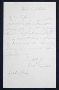 Handwritten letter, dated Dec. 20, 1886, signed by General Wade Hampton