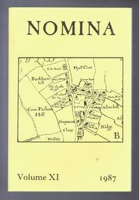 Nomina. Vol. XI (11) - 1987, A journal of name studies relating to Great Britain and Ireland