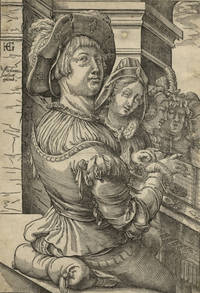 Young man playing a psaltery (salterio) accompanying a group of singers. Woodcut after a drawing...