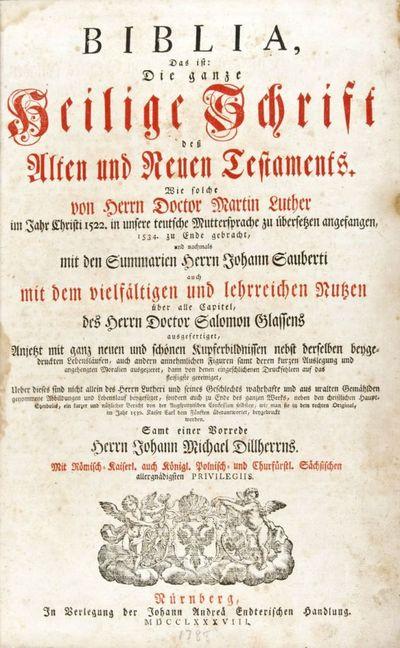 Nürnberg: Johann Andreä Endterischen Handlung, 1788. Later edition. Hardcover. g to vg. Elephant f...