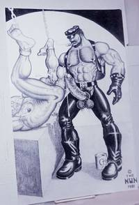 image of Poster of Leatherman/Biker in Chaps fisting a bound nude man with can of Crisco at feet #1/10