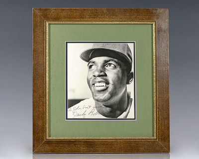 Rare black and white photograph signed by the first African American to play in Major League Basebal...