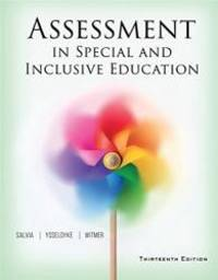 Assessment in Special and Inclusive Education by John Salvia - Paperback - 2016-02-09 - from Books Express (SKU: 130564235X)