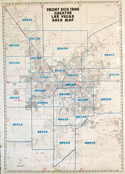 Las Vegas: Front Boy Service Company, 1986. Map Printed in blue, red and blak ink on a large glossy ...