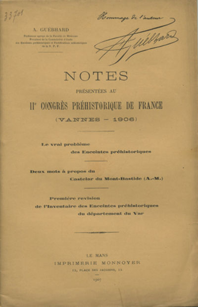 Le Mans, France: Imprimerie Monnoyer, 1907. Offprint. Paper wrappers. A very good copy.. pp. Illus. ...