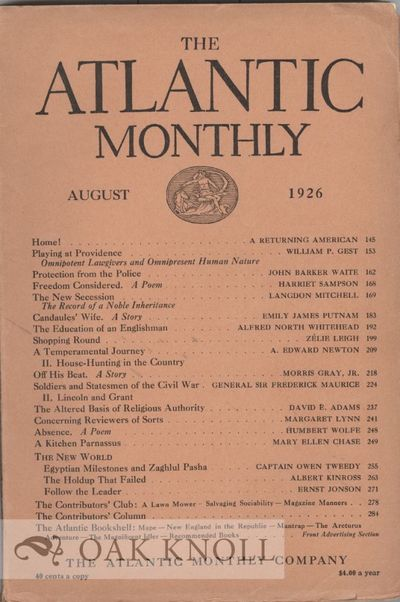 Boston: The Atlantic Monthly, 1926. paper wrappers. tall 8vo. paper wrappers. pp.209-217. In the Atl...
