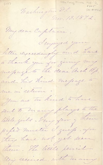 Washington D. C.. 1872. Autograph Letter Signed. Two sheets of unlined paper, 5 x 8 inches previousl...