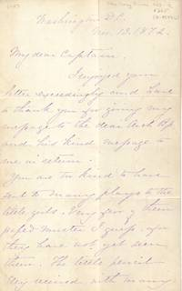 Autograph Letter Signed Written by Ellen Ewing Sherman November 13, 1872