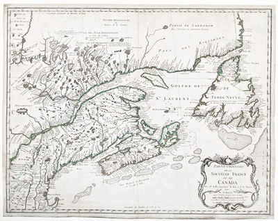, 1755. Engraved map, period hand-colouring in outline. Bellin's foundation map of eastern Canada. F...