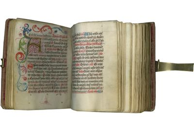 BOOK DESCRIPTION: VERY SMALL ILLUMINATED BREVIARY WITH EVIDENCE OF FEMALE OWNERSHIP OVER FIVE CENTUR...