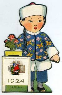 Illustrated and die cut Whitney Made free standing 1924 calendar with little Chinese girl in costume