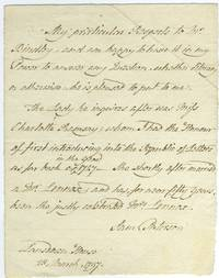 ALS letter from Samuel Paterson, bookseller, to Mr. Brindley regarding Mrs. Charlotte Lennox