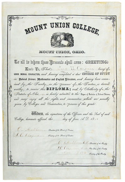 Mount Union, Ohio, 1858. Broadsheet, 17 1/2 x 11 3/4 inches. Signed by O. N. Hartshorn and J. O.Chap...