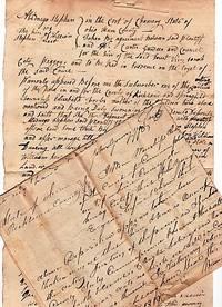 "1819 HANDWRITTEN DEPOSITION IN THE TRYAL OF ABEDNEGO STEPHEN VS. THE HEIRS OF WILLIAM STEPHEN, ""DECEST [deceased]."""