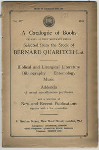 A catalogue of books offered at very moderate prices selected from the stock of Bernard Quaritch Ltd.