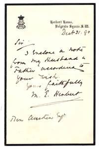 ALS New Year's Eve from writer and noted Victorian, Elizabeth Herbert (Baroness Herbert of Lea, nee Ashe à Court-Repington), wife of Sidney Herbert, 1st Baron Herbert of Lea, to Ben Austin Esq., Dec 31, 1890