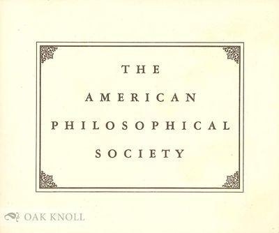 (Philadelphia, PA: The American Philosophical Society), n.d.. self paper wrappers. American Philosop...