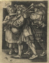 Fine 16th century German engraving after Hans Sebald Beham (1500-1550) depicting two male...