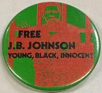image of Free J.B. Johnson / Young, Black, Innocent [pinback button]