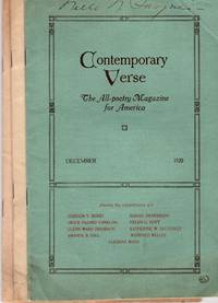 Three issues of Contemporary Verse: The All Poetry Magazine for America; Volume IX [9], Number 12, December 1920; Volume XI [11], Number 1, January 1921; Volume XIII [13], Number 1, January 1922