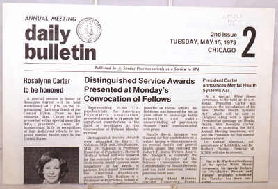 Chicago: published by Sandoz Pharmaceuticals as a Service to the APA, 1979. Newspaper. 4p. folded ta...