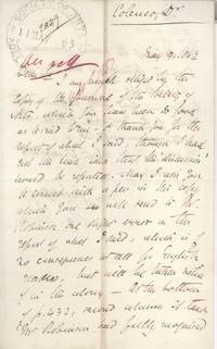 Autograph Letter Signed 'J.W. Natal' to the Society of Arts (John William, 1814-1883, Bishop of Natal from 1853)