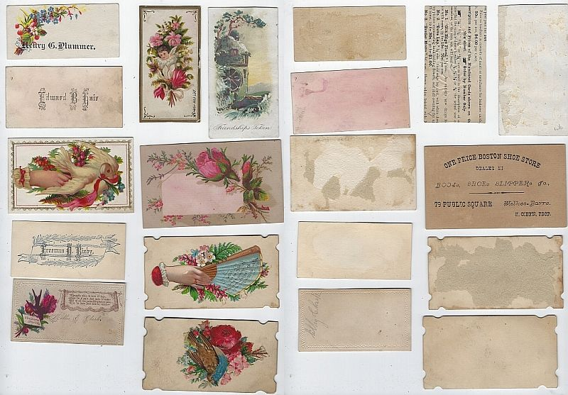 LOT OF TEN SCRAP VICTORIAN TRADE CARDS AND CALLING CARDS, Advertisement